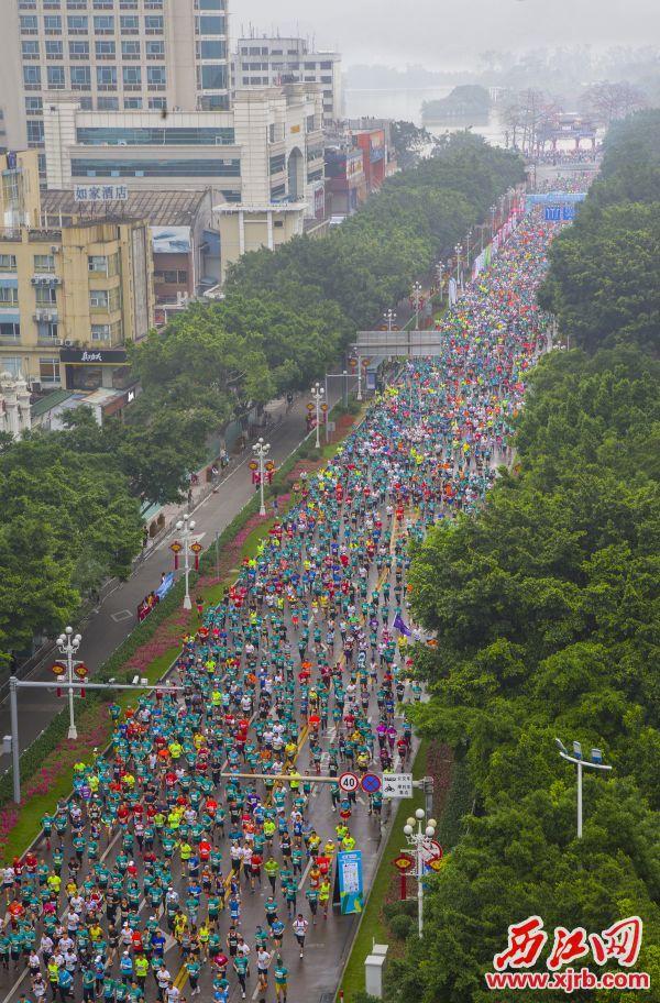 2万多名海内外选手欢跑山水中,感受古端州山湖城江的独特魅力。  西江日报记者 梁小明 摄