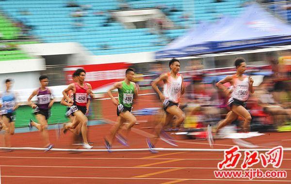 男子組1500米預賽,運動員們你追我趕在比賽中。 西江日報實習生 曹笑 攝