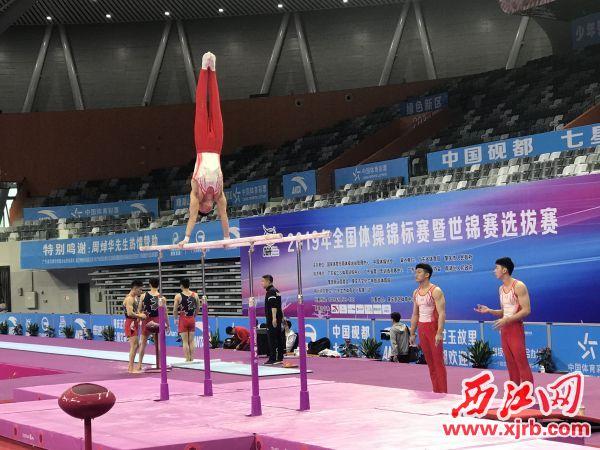 来自河南代表队的选手进行适应性训练。 西江日报记者 刘浩辉 摄