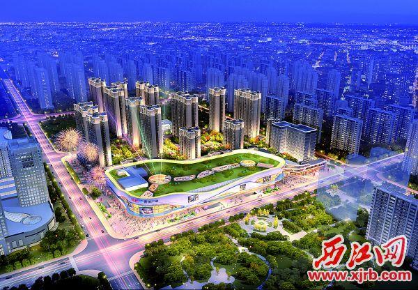 四会市新城·吾悦广场项目效果图。