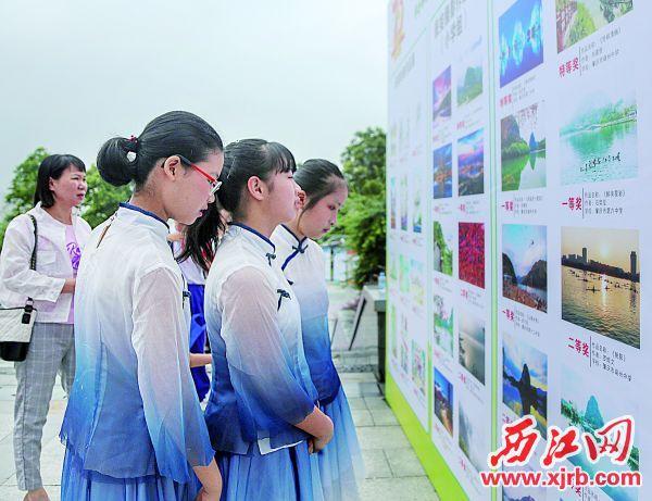 学生在观看展览。 西江日报实习生 曹笑 摄