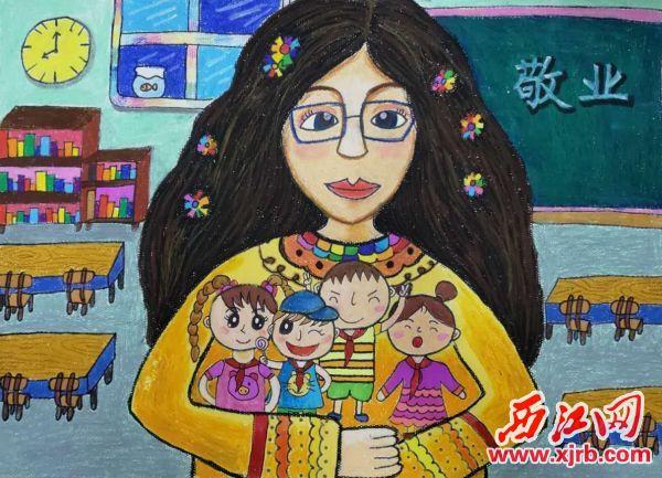 肇慶市第十五小學三(2)班學生陳美陶創作的作品《懷抱》。 受訪單位供圖