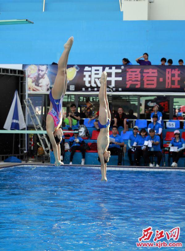 这是男女子甲、乙、丙组双人跳板和乙 组混合双人跳板在决赛中。 西江日报记者 刘春林 摄