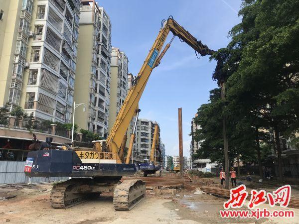 现场正进行雨水方涵支护钢板打桩施工。 西江日报记者 刘亮 摄