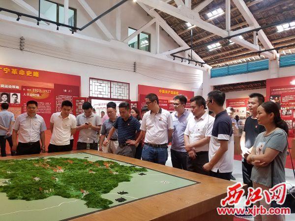 """党员群众在①参观""""红色村""""江美村。 广宁县供图"""