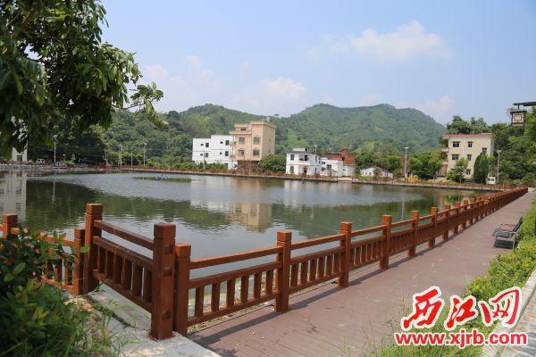 鱼塘变景观池,成为村民休闲好去处。 西江日报记者 杨丽娟 摄