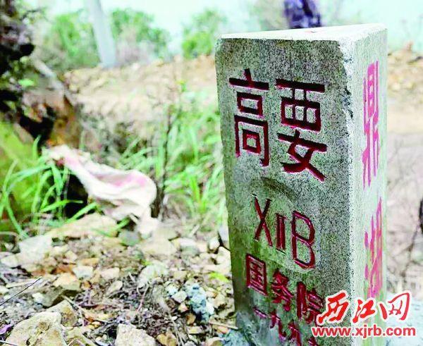 高要区虎坑村有一块三地界碑。 西江日报记者 杨永新 摄高要区虎坑村有一块三地界碑。 西江日报记者 杨永新 摄