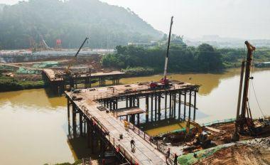 高要新兴江一桥(湖西桥)进入水上施工