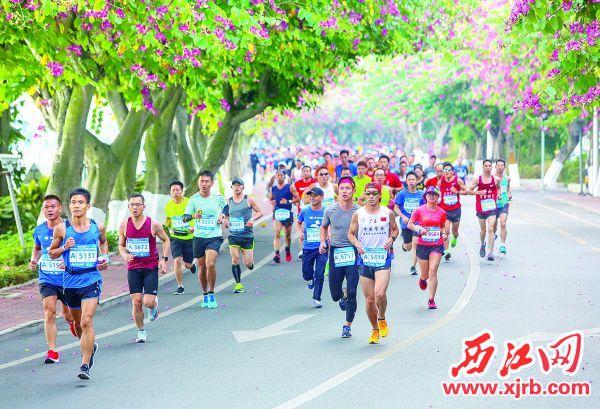 参赛队员在绿道上奔跑,紫荆花树下他们 也是一道风景。  西江日报记者 曹笑 摄