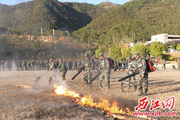森林消防实操实演。 通讯员 汤树泽 摄