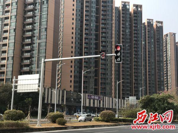 红绿灯正常运作。西江日报记者 严炯明 摄