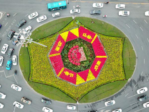 园林部门在星信大花坛设立一个大型的欢度春节绿化园林景组。