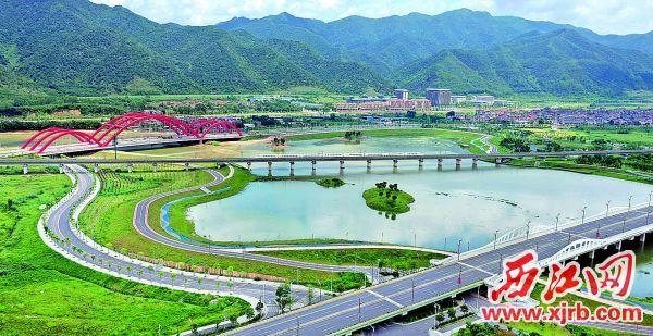 肇慶新區水系景觀碧道通幽,成為人們旅游觀光的好去處。