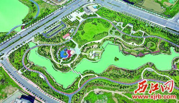 造型別致的水景公園一景。