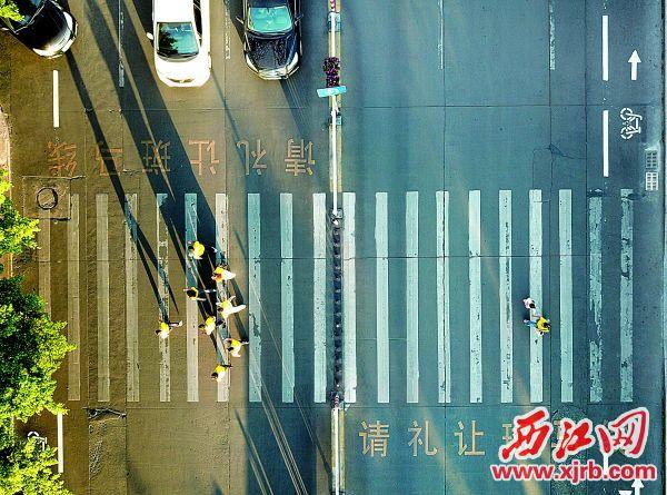 在端州区宋城路一路口的斑马线,车辆礼让行人。 西江日报记者 梁小明 摄
