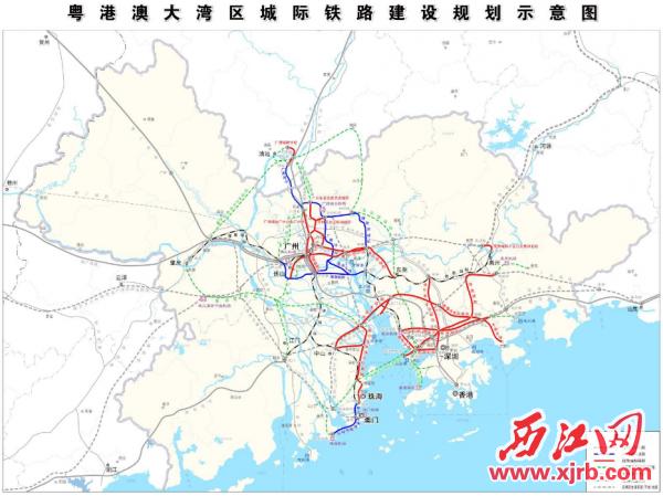 粤港澳大湾区城际铁路建设规划示意图。