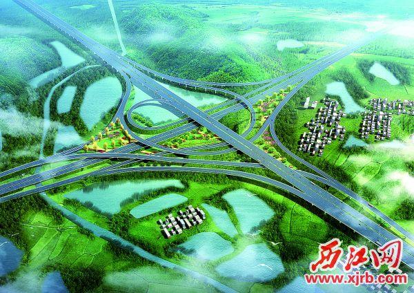 9月1日,肇庆至高明(机场西部)高速公路一期工程动工仪式在高要区大湾镇麦岭 坪举行。这是项目效果图。 西江日报记者 刘春林 摄