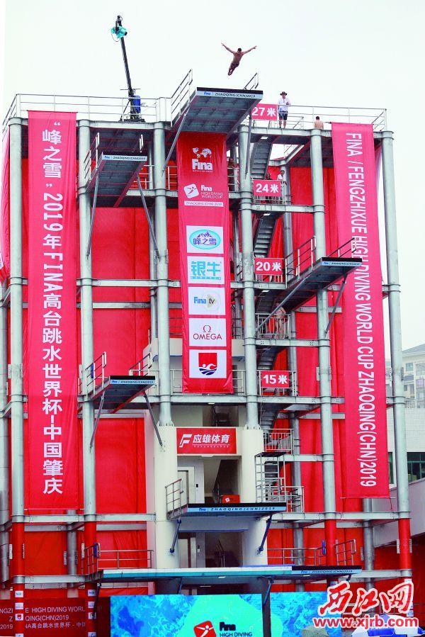 2019年FINA高台跳水世界 杯在肇庆体育中心应雄体育游 泳跳水馆举行。 西江日报记者 刘春林 摄