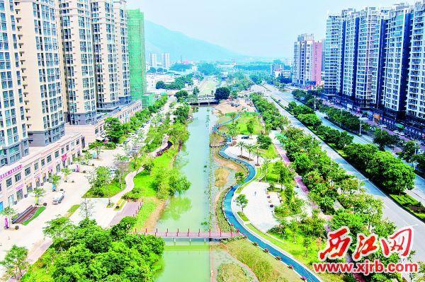羚山涌碧道公园的秀美景致。 西江日报记者 吴勇强 摄