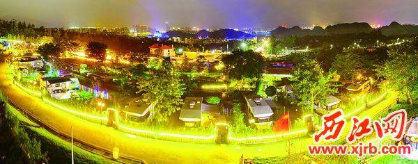 夜幕下的中游房车营地。 西江日报记者 梁小明 摄