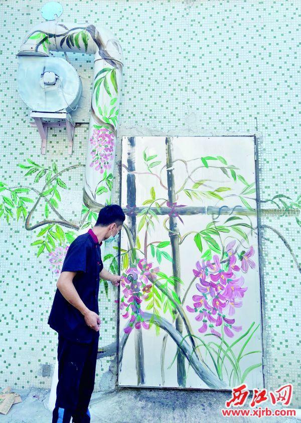 鼎湖区桂城街道幸福里小区,巧妙设置的特色墙绘。