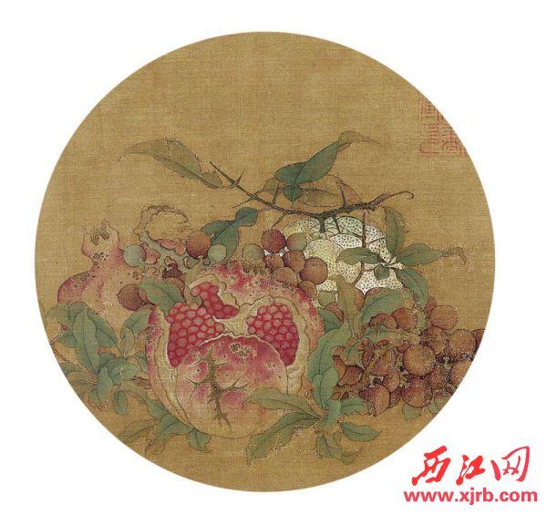 """鲁宗贵 《吉祥多子图》:又名《桔子、葡萄、石榴图》,这是一幅少见的有确切题款的南宋作品。画面的中央堆满了桔子、葡萄和石榴,在中国传统风俗中,这三种水果均有吉祥的寓意,石榴、葡萄是多子多孙之意,中国古代以多子孙为福,多子多孙是一种美好的祝福;""""桔""""""""吉""""古音相谐,故为吉利吉祥之意。画中的石榴、葡萄、桔子采用鲜艳明丽的色彩和密集的构图,以营造结实累累、喜气洋洋的视觉效果。"""