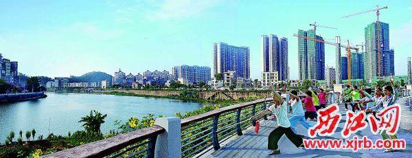 怀集三江口公园晨景。   西江日报通讯员 邓明 摄