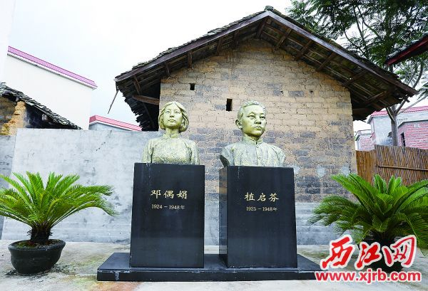 革命烈士植启芬故居树立起植启芬、邓偶娟铜像。 西江日报记者 梁小明 摄