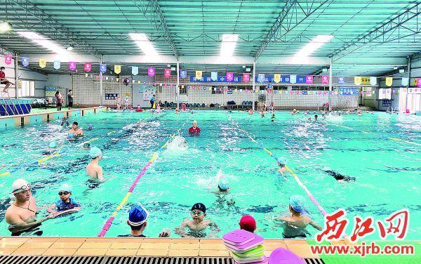游泳场馆成为市民群众消暑锻炼的好去处。 西江日报记者 杨乐祺 摄