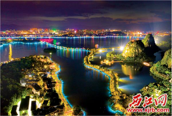 9月19日,中秋节假期首夜,缤纷肇庆以五光十色夜景迎来八方游客。 西江日报记者 梁小明 摄