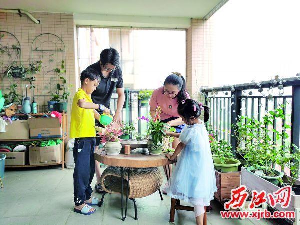 陈媛一家在打理阳台绿植。 西江日报记者 戴福钿 摄