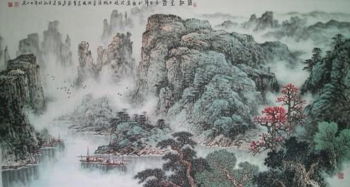 星湖风景水墨画